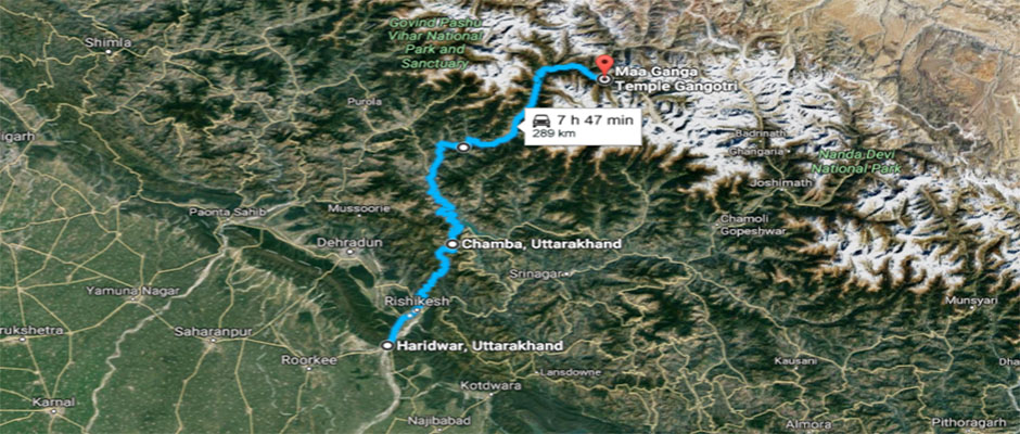 Location of Ganogotri Temple